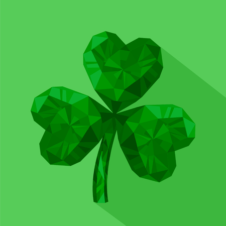 three leaved: Vector illustration of crystal emerald Shamrock. Gem jewelry three-leaved clover. St. Patricks Day flat icon. 17 March