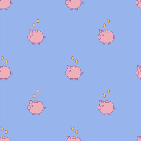 Pink piggy bank seamless vector pattern on blue backgound.