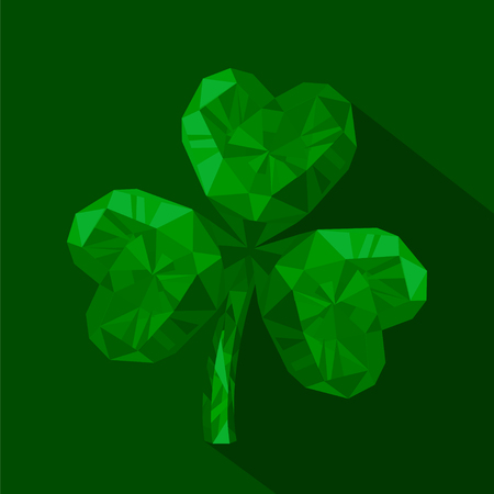 Vector illustration of crystal emerald Shamrock. Polygonal gem jewelry three-leaved clover. St. Patricks Day isolated flat icon on the green background.