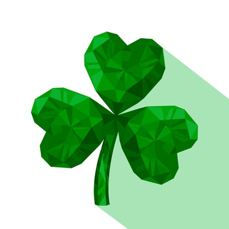 three leaved: Vector illustration of crystal emerald Shamrock. Gem jewelry three-leaved clover. St. Patricks Day isolated flat icon.