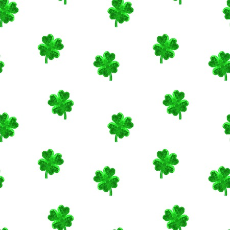celtic background: Vector crystal gem jewelry Four-leaf lucky clover. Symbol of fortune seamless vector pattern on white background. Illustration