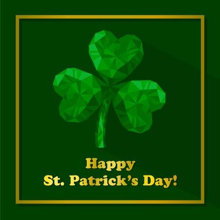 Vectorillustratie van kristal emerald Shamrock. Veelhoekige edeljuweels klavertjevier. St. Patrick's Day geïsoleerd plat pictogram en gouden letters op de groene achtergrond. Vector Illustratie