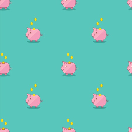 Pink and green piggy bank seamless pattern. Illustration