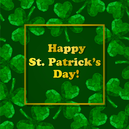 st  patrick's day: Vector illustration of crystal emerald Shamrock. Polygonal gem jewellery three-leaved clover. St. Patricks Day isolated flat icon and Golden letters on the green background.