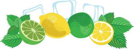 Mojito cocktail ensemble isolé. Illustration vectorielle avec citron vert, citron, glaçons et feuilles de menthe.