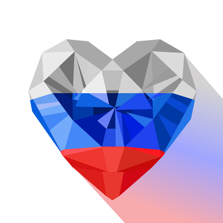 Vector crystal gem jewelry Russian heart with the flag of the Russian Federation. Flat style logo symbol of love Russia.12 June