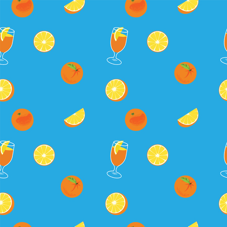 Orange with peel, glass of juice and orange slice seamless vector pattern on blue background.