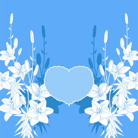 Blue and white lily vector love card. Wedding invitation template on the blue background.