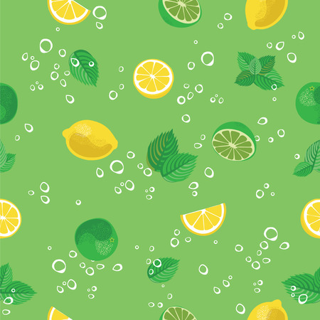 Mojito cocktail lime lemon mint and bubbles green seamless vector pattern background