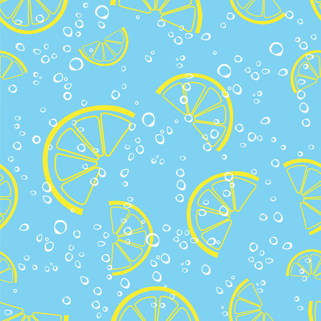 lemon slice and bubbles sparkling drink water seamless vector pattern. Lemonade fizzy background. Illustration