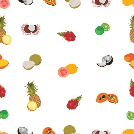 Tropic exotic fruits white seamless pattern. Pineapple, coconut, papaya, dragon fruit, lime, mango, guava, rambutan illustration background.