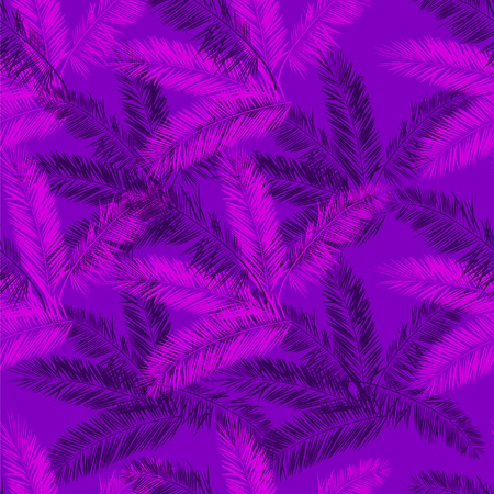 Purple and pink palm seamless vector pattern. Palm leaves purple hawaiian background.