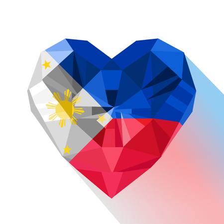 Vector crystal gem jewelry Philippine heart with the flag of the Republic of the Philippines. Flat style logo symbol of love Philippines. Southeast Asia.12 June
