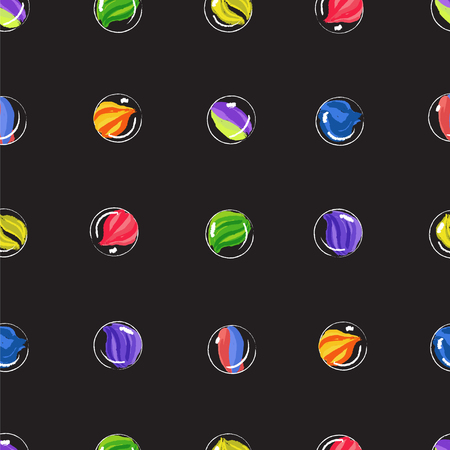 Marbles colorful seamless vector pattern. Funny black seamless background.