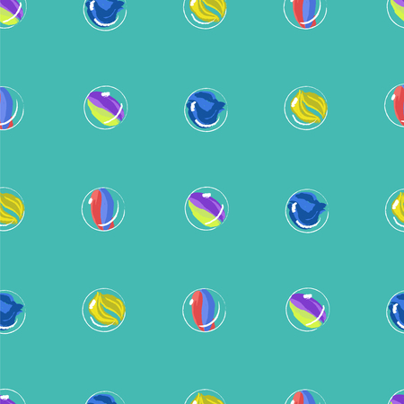 Marbles colorful seamless vector pattern. Funny blue seamless background.