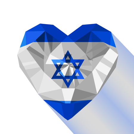 Crystal gem jewelry Israeli heart with the flag of the State of Israel. Flat style logo symbol of love Israel. Middle East. Independence Day.