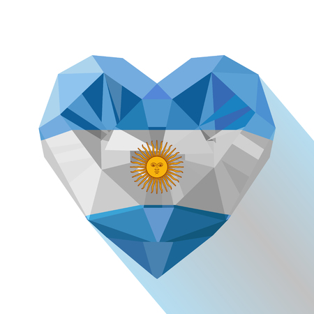 Vector crystal gem jewelry Argentine heart with the flag of the Argentine Republic. Flat style logo symbol of love Argentina. South America.