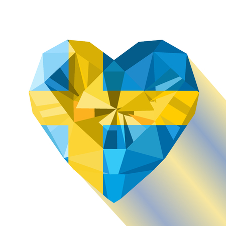 Crystal gem jewelry Swedish heart with the flag of the Kingdom of Sweden. Flat style logo symbol of love Sweden. June 6 Day of the Swedish Flag . Europe.