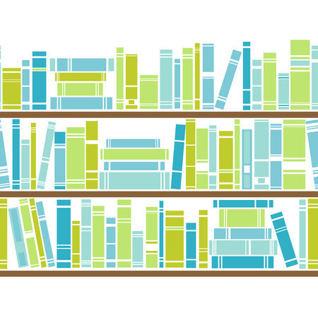 Bookshelf seamless vector pattern. Illustration of bookcase. Blue and green background
