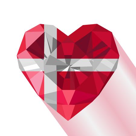Crystal gem jewelry Danish heart with the flag of the Kingdom of Denmark. Flat style logo symbol of love Denmark. June 15 Dannebrog. Europe