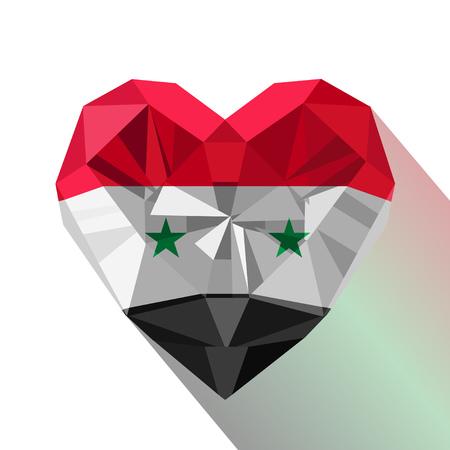 Joya de cristal joyas de cristal corazón sirio con la bandera de la República Árabe Siria. Logotipo de estilo plano símbolo del amor Siria.