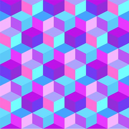 Geometric colorful cube background. Purple and blue rhombus seamless pattern.