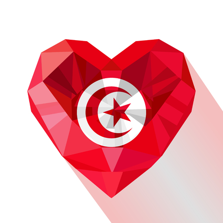 A crystal gem jewelry heart design with the flag of the Tunisian Republic. Flat style logo symbol of love Tunisia Independence Day.