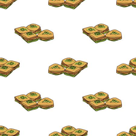 Baklava vector seamless pattern.