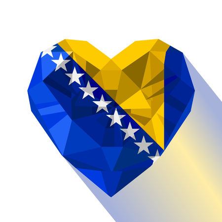 Crystal gem jewelry Bosnian Herzegovinian heart with the flag of Bosnia-Herzegovina. Flat style logo symbol of love Bosnia and Herzegovina. B&H. BiH. Southeastern Europe.