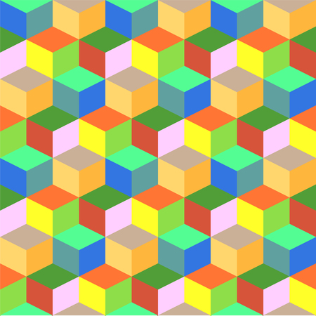 Geometric colorful cube vector background. Green and orange rhombus seamless pattern.