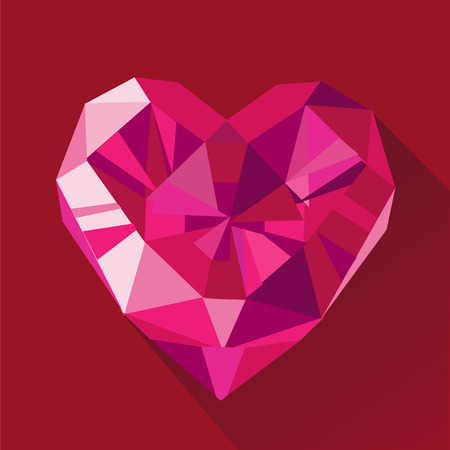 Polygonal red crystal ruby heart logo flat style illustration on red . Valentine day greeting card.