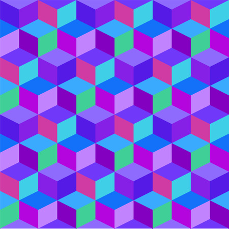 Geometric colorful cube vector background. Purple and blue rhombus seamless pattern. Ilustração