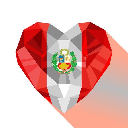A Vector crystal gem heart design with the flag of the Republic of Peru. Flat style logo symbol of love Peru. Ilustração