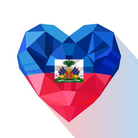 Vector crystal gem jewelry Haitian heart of the Republic of Haiti. Flat style logo symbol of love Haiti. Caribbean Sea.