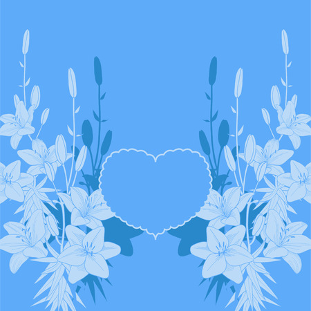 Blue lily vector love card background