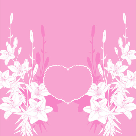 Pink lily vector love card background. Wedding invitation template on the pink background.