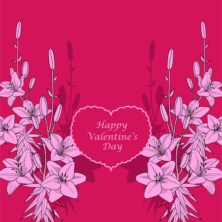 Red and pink lily vector valentine card background