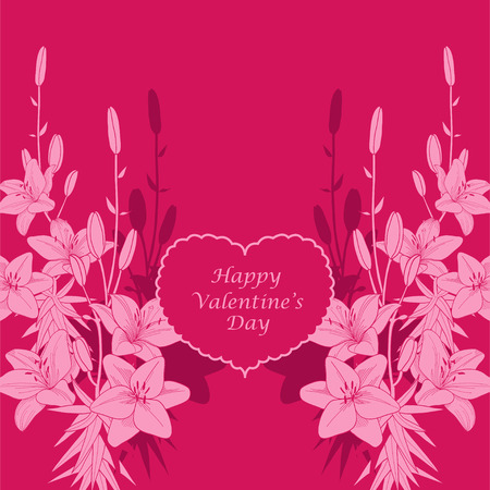 Red  lily vector valentine card background Ilustrace