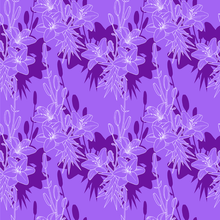 Seamless vector floral pattern texture with purple lilies