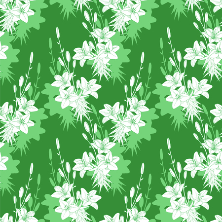 Seamless vector green floral pattern texture with lilies Ilustração