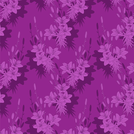 Seamless vector floral pattern texture with violet lilies