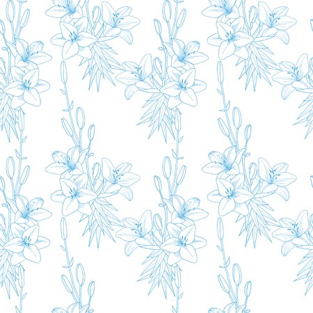 Seamless vector floral pattern texture with blue lilies