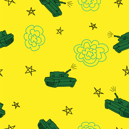 Yellow and green tank seamless  pattern. Defender of the Fatherland Day Banco de Imagens