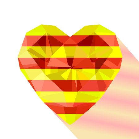 The Senyera. Vector crystal gem jewelry Catalonian heart with the flag of the Catalonia. Illustration