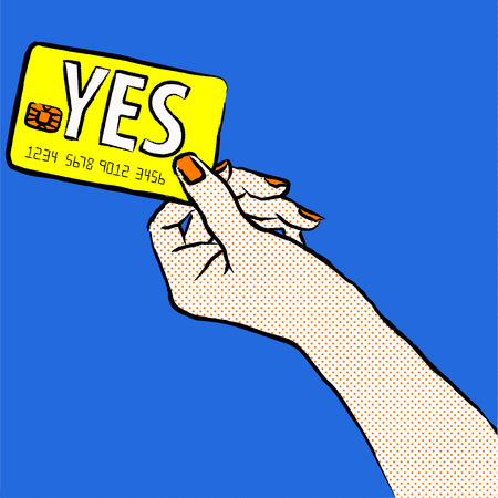 Marketing illustration. Customer say yes. Illustration of a shopper, paying with the card. Sale and buy with a card. Image of a hand purchasing with credit card from the right corner of the picture.Want to buy.