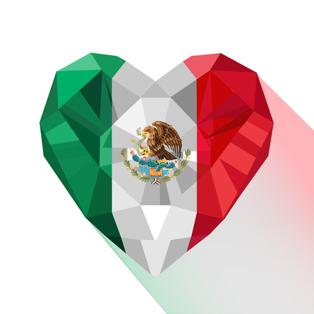 Crystal gem jewelry Mexican heart with the flag of the United Mexican States. Ilustrace
