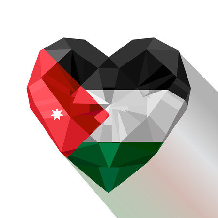 Crystal gem jewelry Jordanian heart with the flag of The Hashemite Kingdom of Jordan.