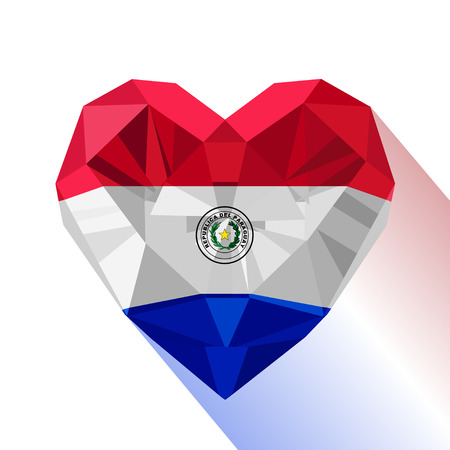Crystal gem jewelry Paraguayan heart with the flag of the Republic of Paraguay.