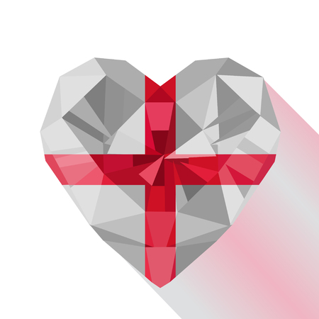 Vector crystal gem jewelry English heart with The flag of England. Flat style logo symbol of love England. St George's Cross. 23 April. Saint George's Day.