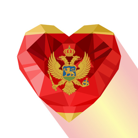 Crystal gem jewelry Montenegrin heart with the flag of Montenegro. Flat style logo symbol of love Montenegro. Crna Gora. Southeastern Europe.